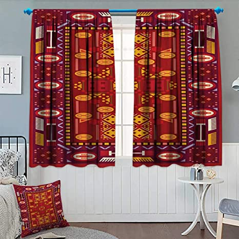 Anhounine Afghan Blackout Curtain Afghan Pattern With Eastern Folklore Inspirations Geometric Shapes In Warm Colors Decor Curtains By Multicolor W55 X L72 Inch Amazon Co Uk Kitchen Home