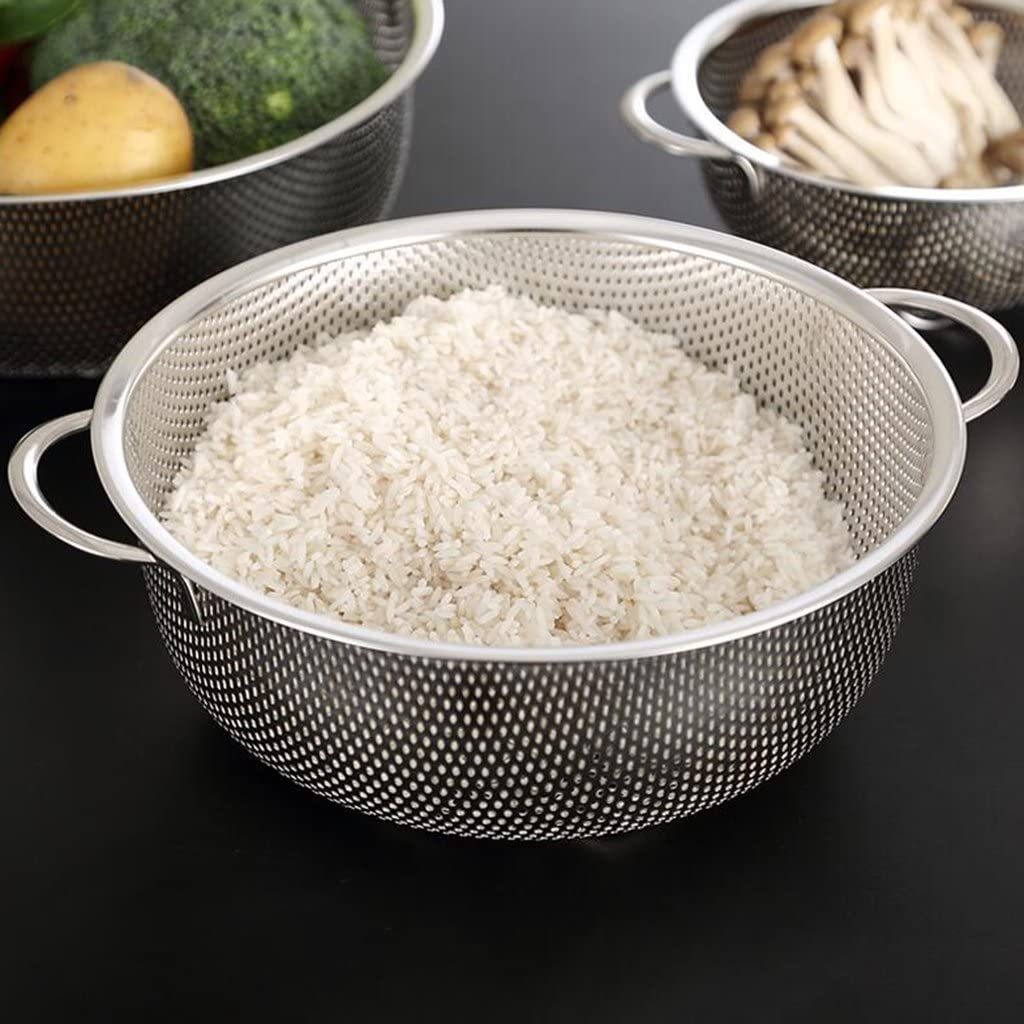 - A 16.5cm e.g. fruit basket vegetables /& fruit and use it for washing or storing rice Rice Drainer Steel Pot Mini Hole Side Bottom Grain Washer Kitchenware Bowl It allows you to strain spaghetti