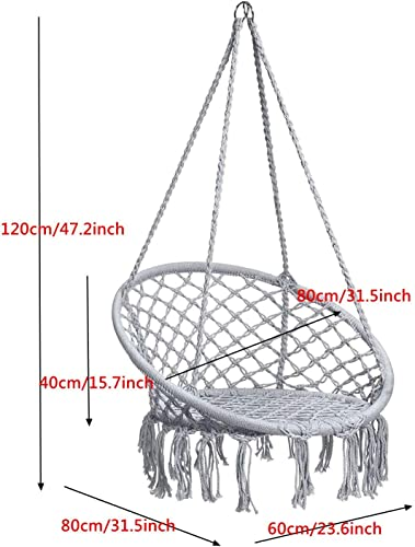 Caromy Hammock Chair Macrame Swing, Hanging Lounge Mesh Chair Durable Cotton Rope Swing for Bedroom, Patio, Garden, Deck, Yard, Max Capacity 265 Lbs Grey