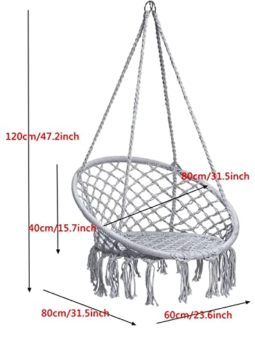 Caromy Hammock Chair Macrame Swing, Hanging Lounge Mesh Chair Durable Cotton Rope Swing for Bedroom, Patio, Garden, Deck, Yard, Max Capacity 265 Lbs Grey