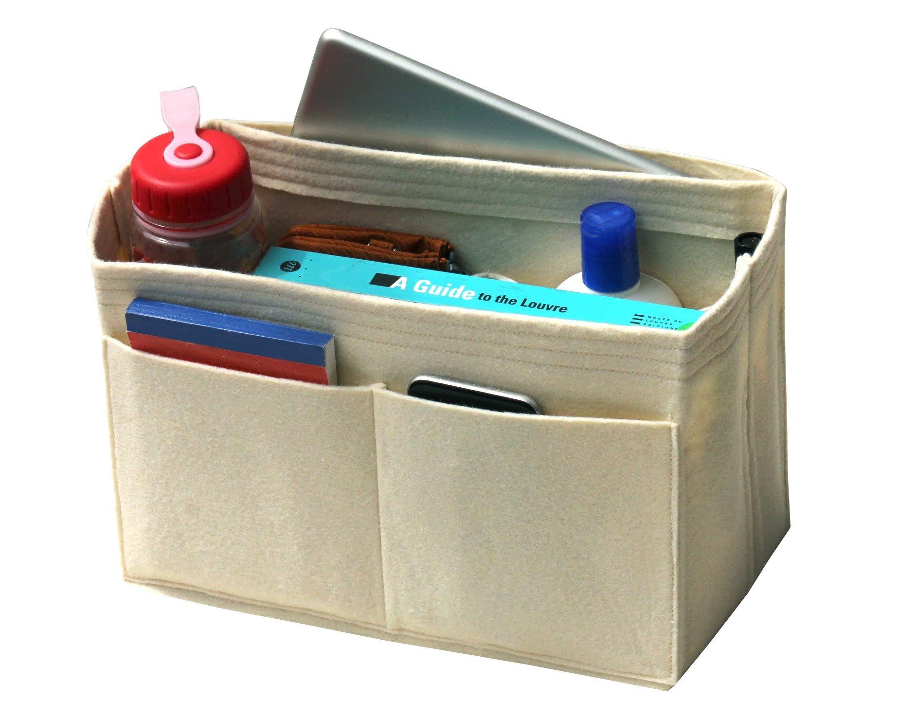 [Fits Various Bags, L.V Her.mes Long.champ Go.yard] Felt Tote Organizer (w/ Milk Water Bottle Holder), Purse Insert, Cosmetic Makeup Diaper Handbag, Belongings Pocket