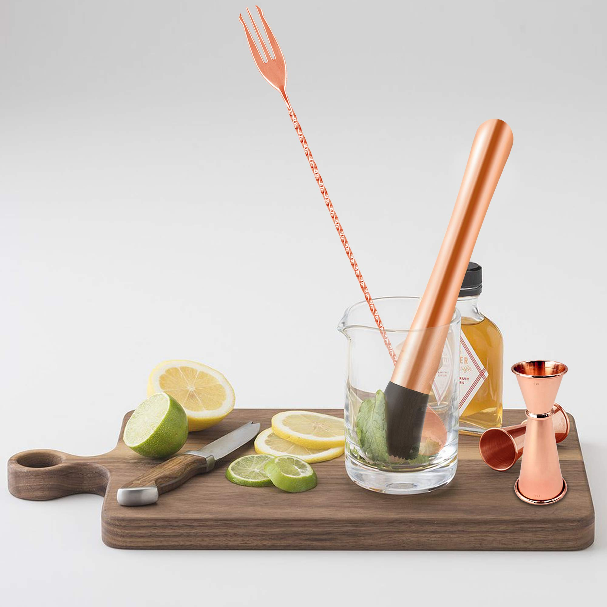 Homestia 3 PIECE Muddler Set Stainless Steel Cocktail Muddler with Double Jigger, Bar Spoon Mojito Bar Tool Copper by Homestia (Image #3)