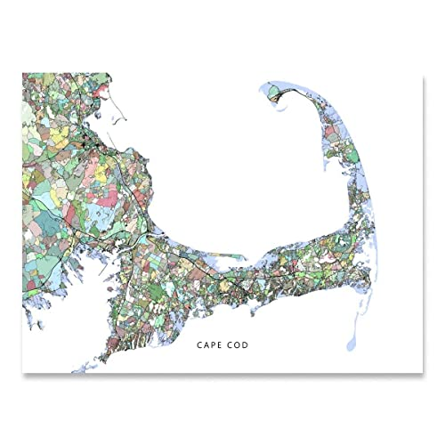 Amazon.com: Cape Cod Map Print, Machusetts USA, Street Art ... on