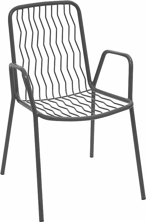 RD ITALIA Silla sillón con reposabrazos Onda Outlet Metal Antracita: Amazon.es: Jardín