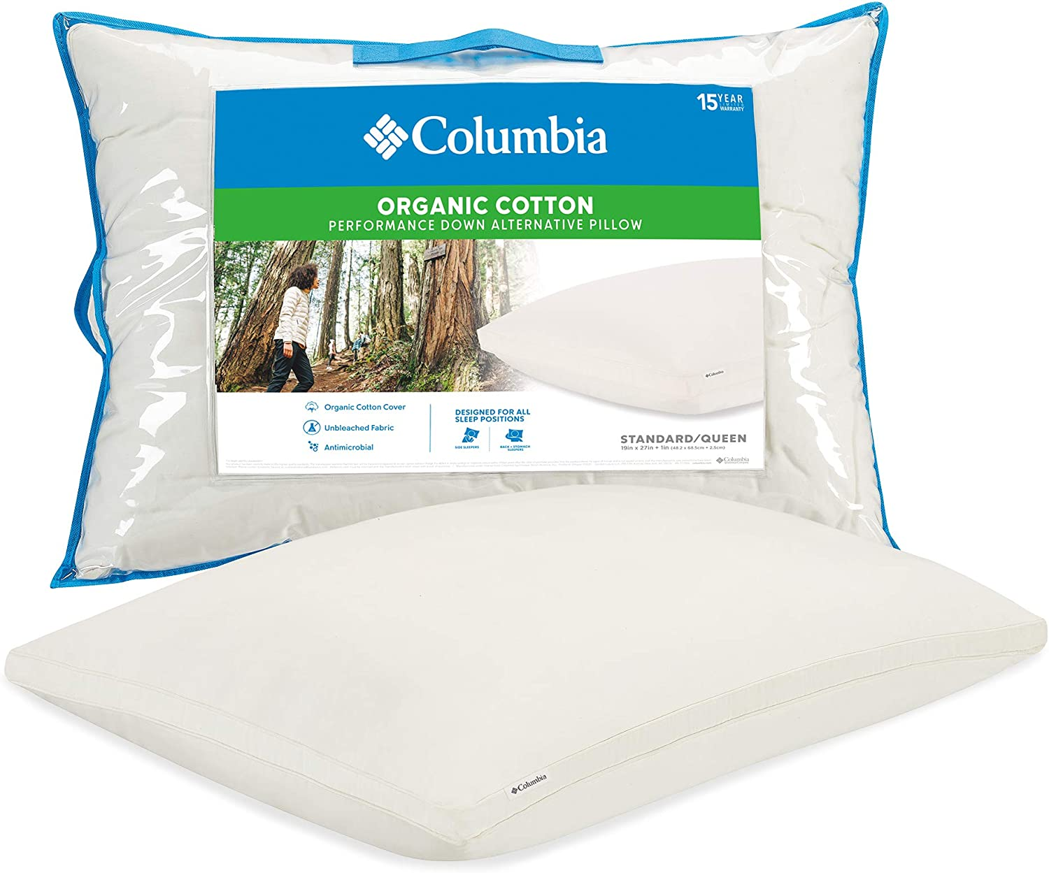 "Columbia Organic Cotton Cover Pillow with Performance Down Alternative Fill – 300TC Cotton Sateen Cover - 1"" Gusset for All Sleep Positions - Standard/Queen"