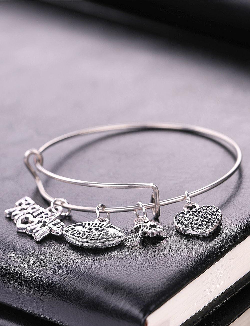 Sports Style I Love Football Mom Heart Pendant Stainless Steel DIY Bracelet Gift