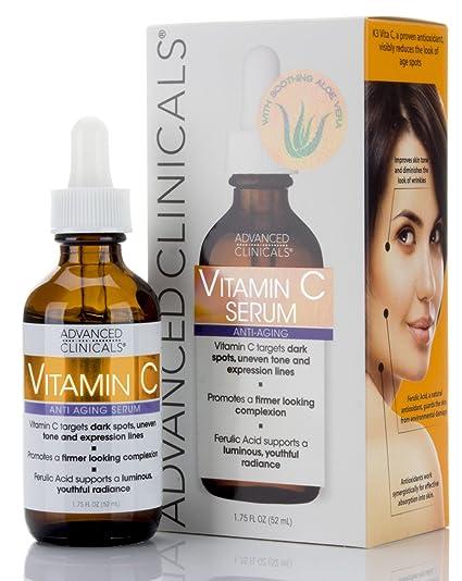 Advanced Clinicals Advanced Clinicals - Sérum antienvejecimiento de vitamina C para puntos oscuros, tono de