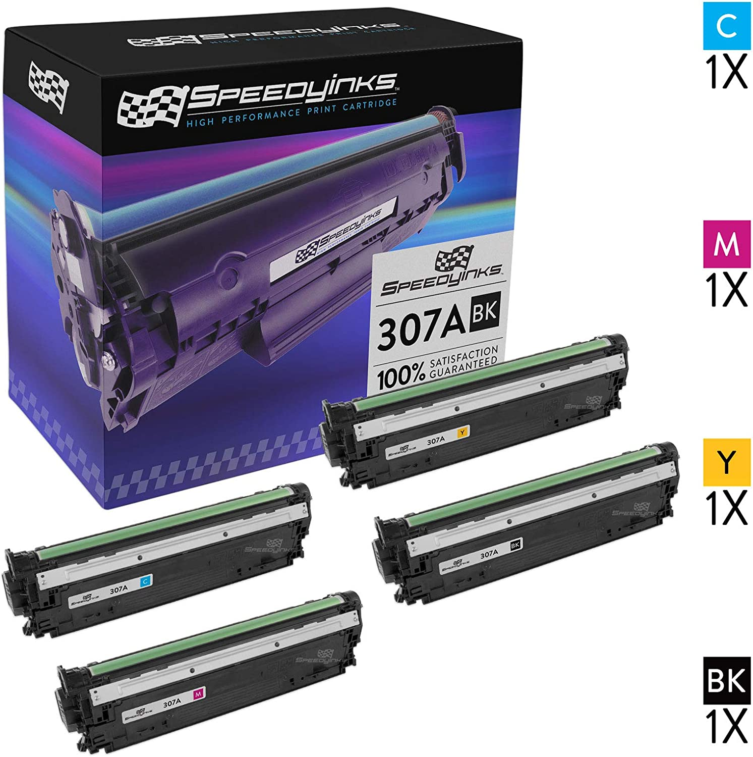 Speedy Inks Remanufactured Toner Cartridge Replacement for HP 307A (1 Black, 1 Cyan, 1 Magenta, 1 Yellow, 4-Pack)