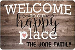 Gxiliru Welcome to Our Happy Place Sign Personalized Customized Name Metal Wooden Home Wall Decor Art Plaque Gift Decorative Signs