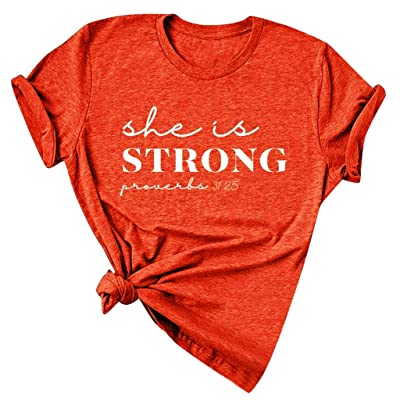 womens tops she is Strong Proverbs T Shirt and Blouses Plus Size Summer Short Sleeve Casual Letter Print Top Tees at Women's Clothing store [5Bkhe0206024]