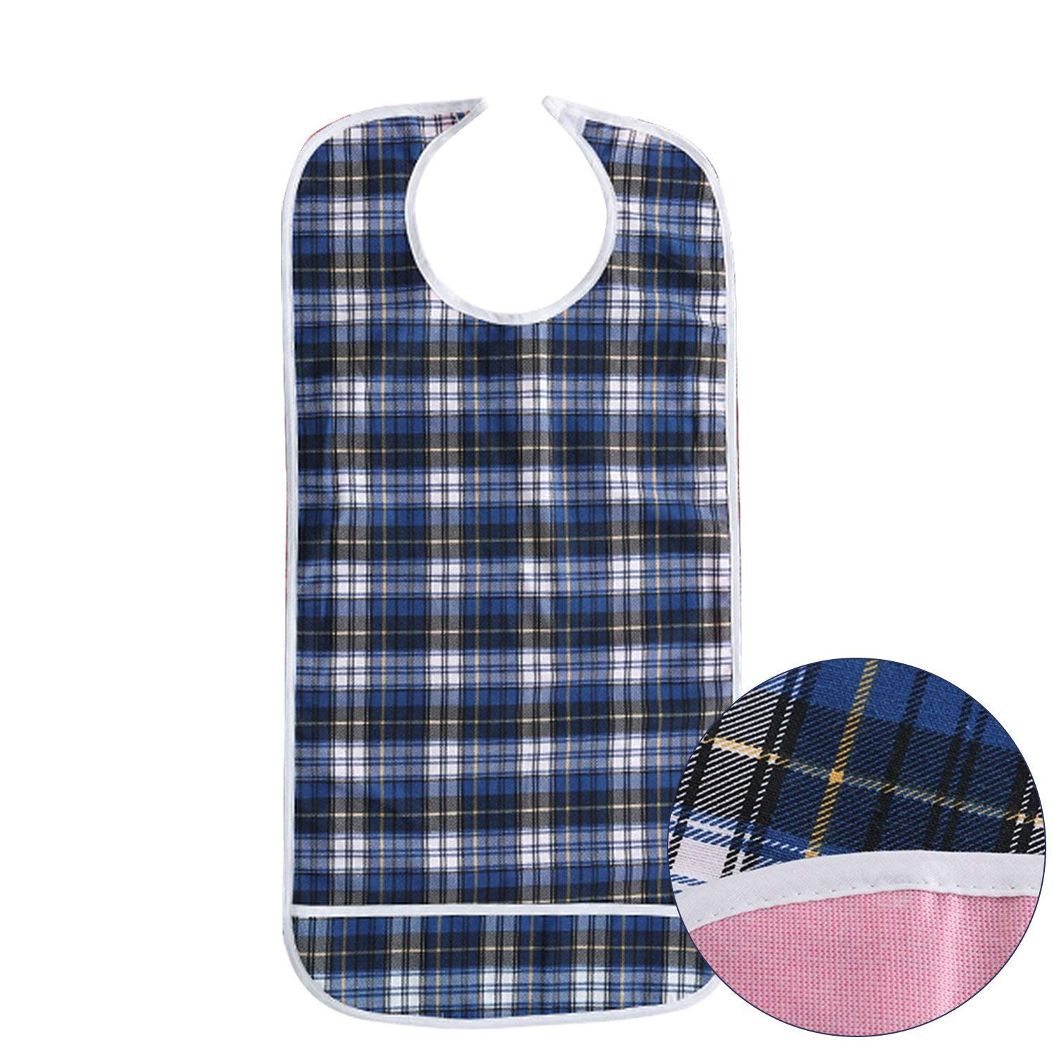 Adult Bibs - Double Layer Waterproof Mealtime Clothes Protector,Reusable Large Long Aid Bib Apron with Food Catcher for Elderly Men Women Disability (Blue)