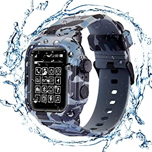 Waterproof Case for Apple Watch Series 42mm 44mm,Rugged Shockproof Impact Resistant 360°Protective Cover Case with Premium Soft Silicone Band Compatible with iWatch Series 5/4/3/2/1 (Camouflage, 44mm)