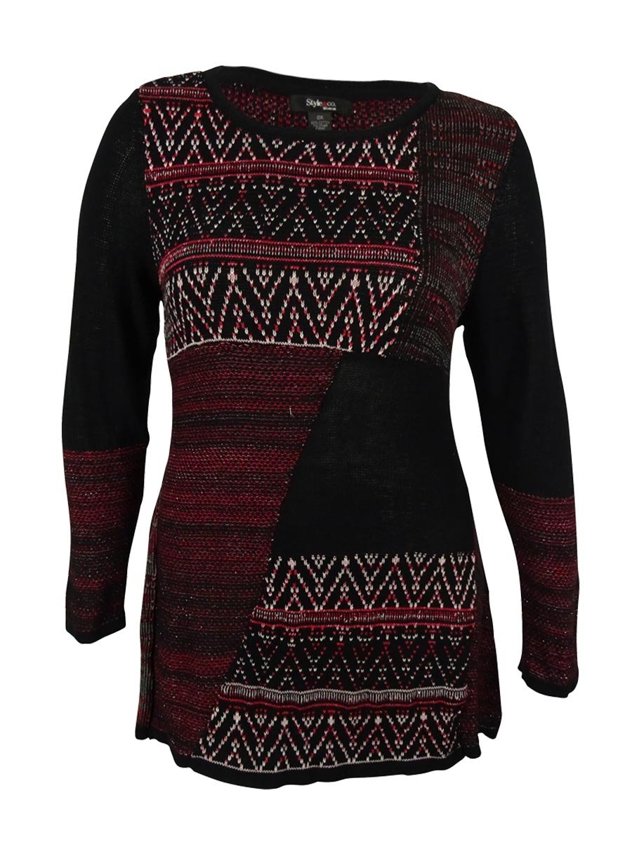 Style & Co. Womens Plus Metallic Mixed Media Tunic Sweater Red 2X