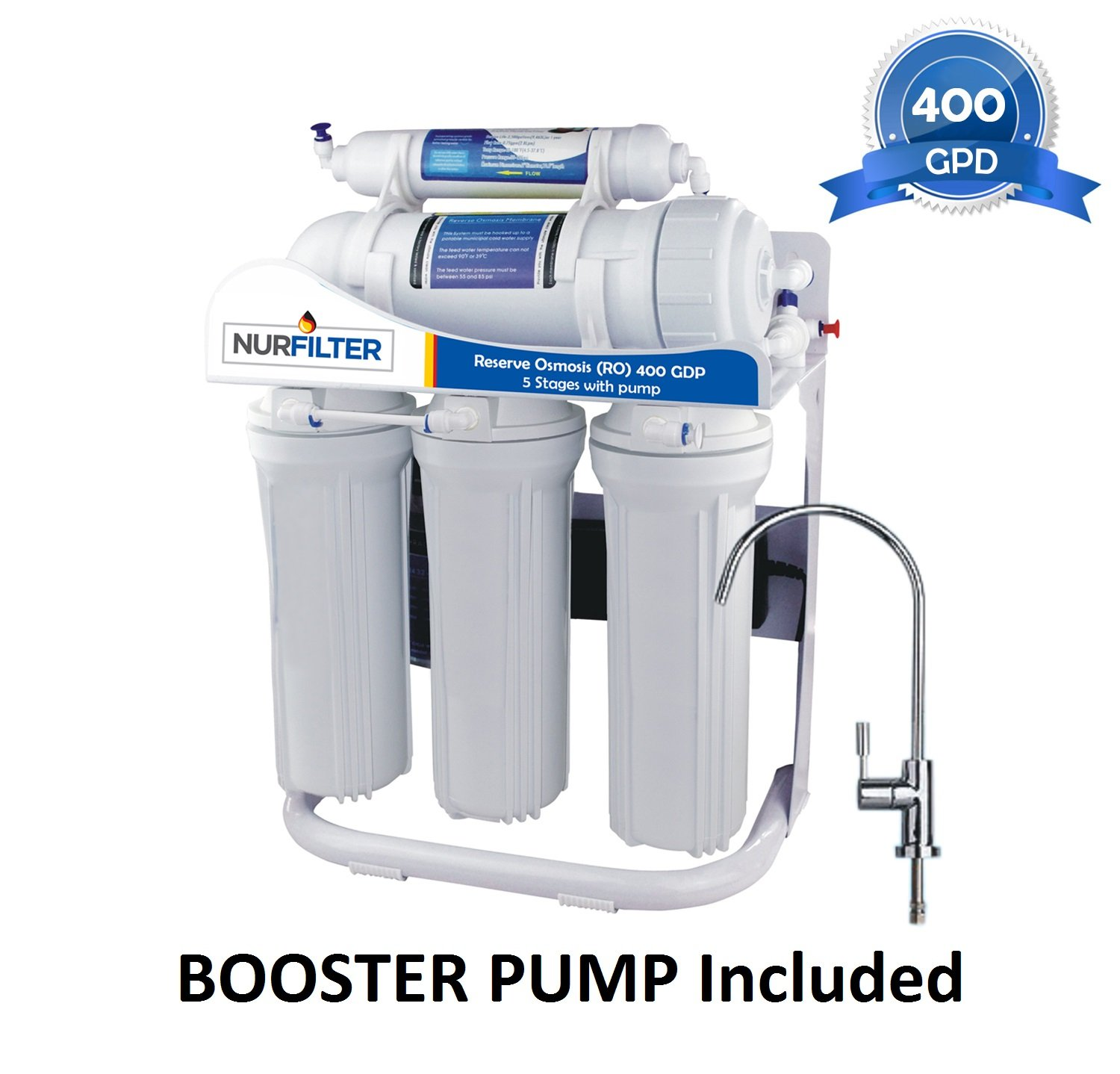 NURFILTER 400-gpd TANKLESS RO Reverse-Osmosis Drinking Water Filtration System 5 Stage and Booster Pump IDEAL in Low Pressure Home Commercial Grade Ultra Safe Filter Modern FDA Faucet Under Sink WQA