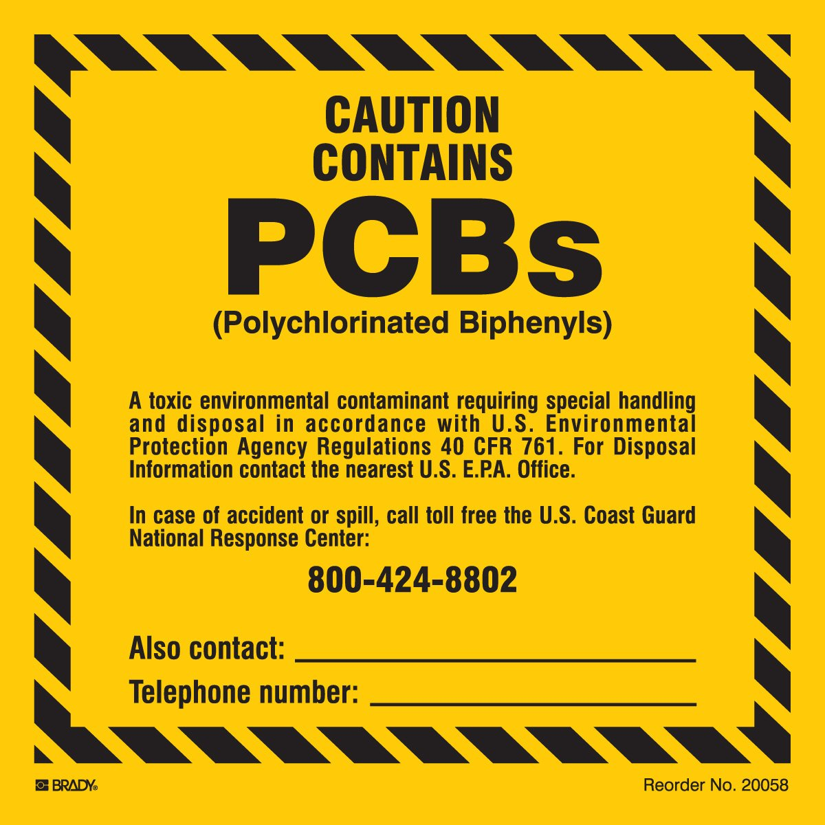 Brady 20058LS Chemical Biohazard and Hazardous Material Labels Pack of 10 Economy 6 x 6 6 x 6 Brady Polyester Drop Ship Black On Yellow