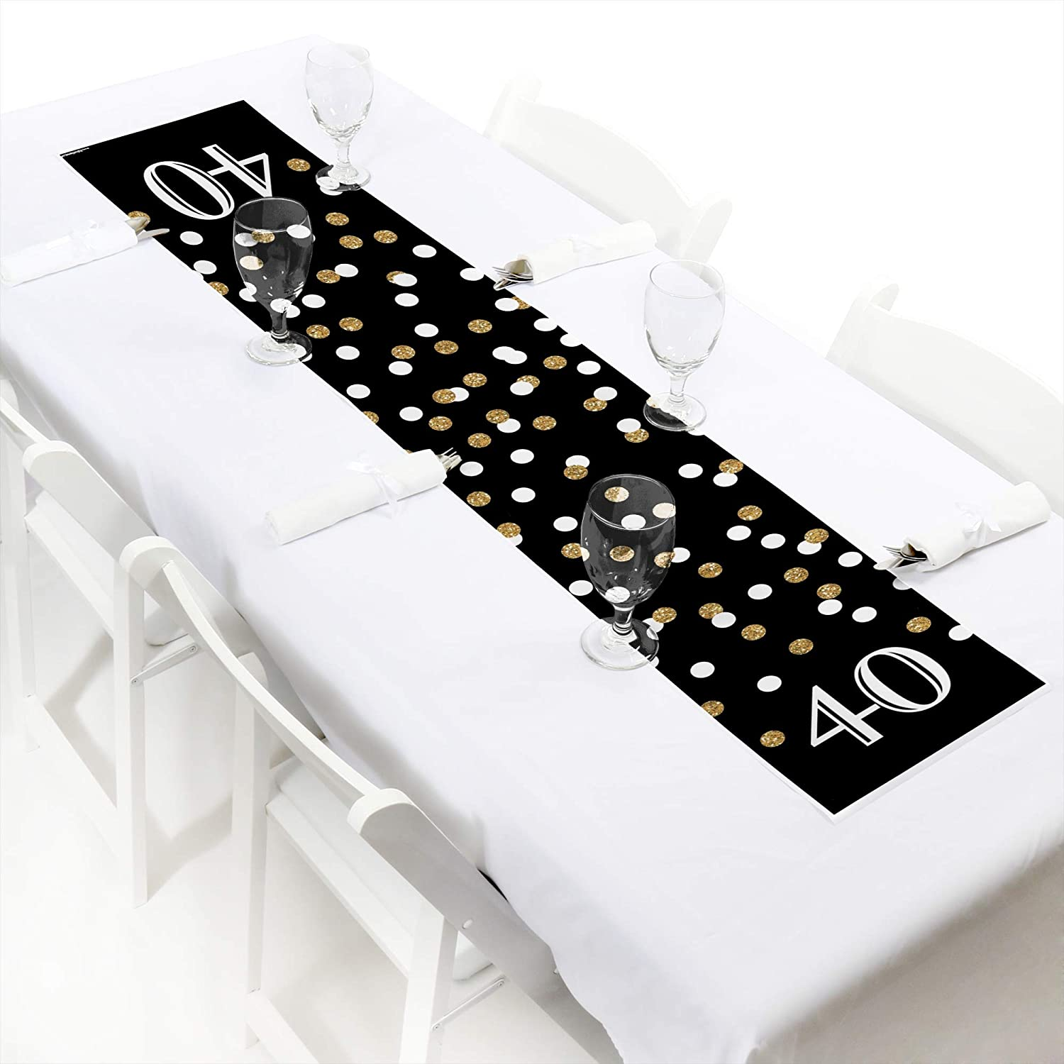 Big Dot of Happiness Adult 40th Birthday Gold Petite Birthday Party Paper Table Runner 12 x 60