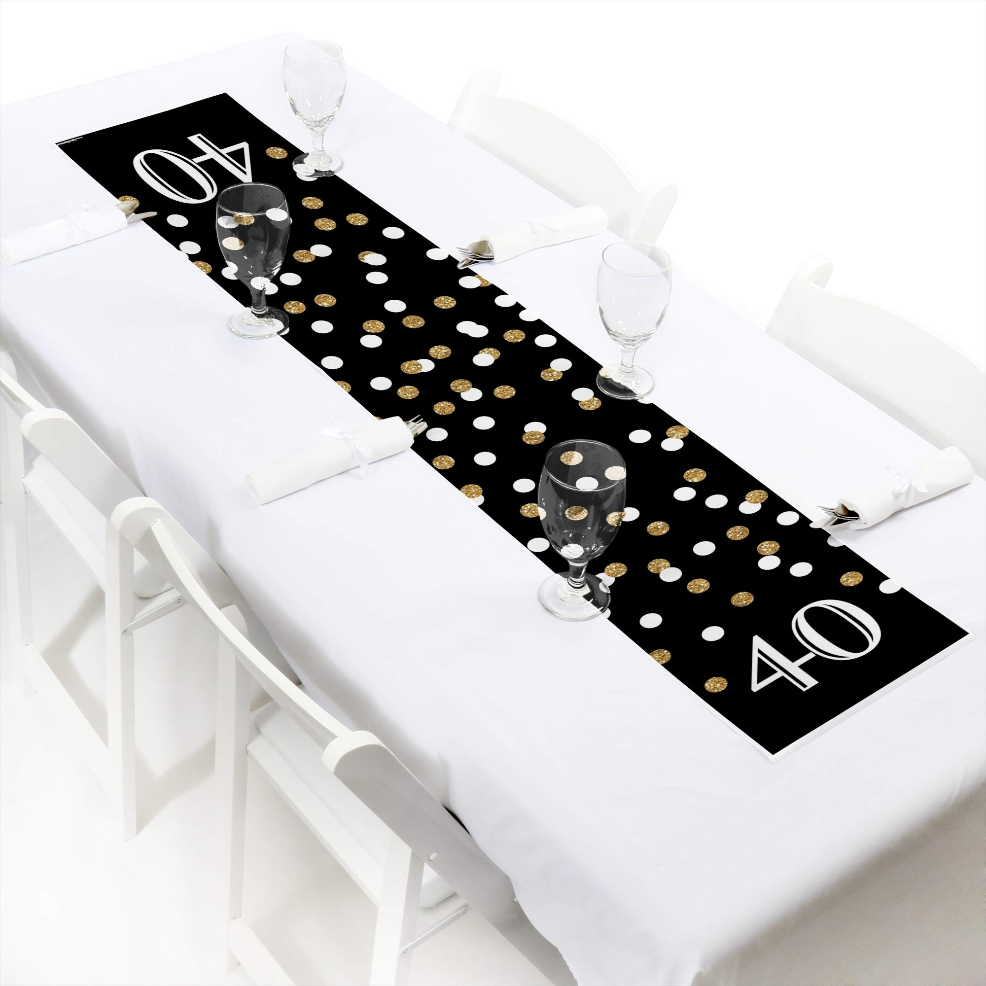 Big Dot of Happiness Adult 40th Birthday - Gold - Petite Birthday Party Paper Table Runner - 12'' x 60''