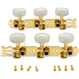 Metallor Guitar Tuning Pegs Gold Plated Machine Heads Tuning Keys Tuners Single Hole for Classical Guitar 3 on a Plank 3L 3R.