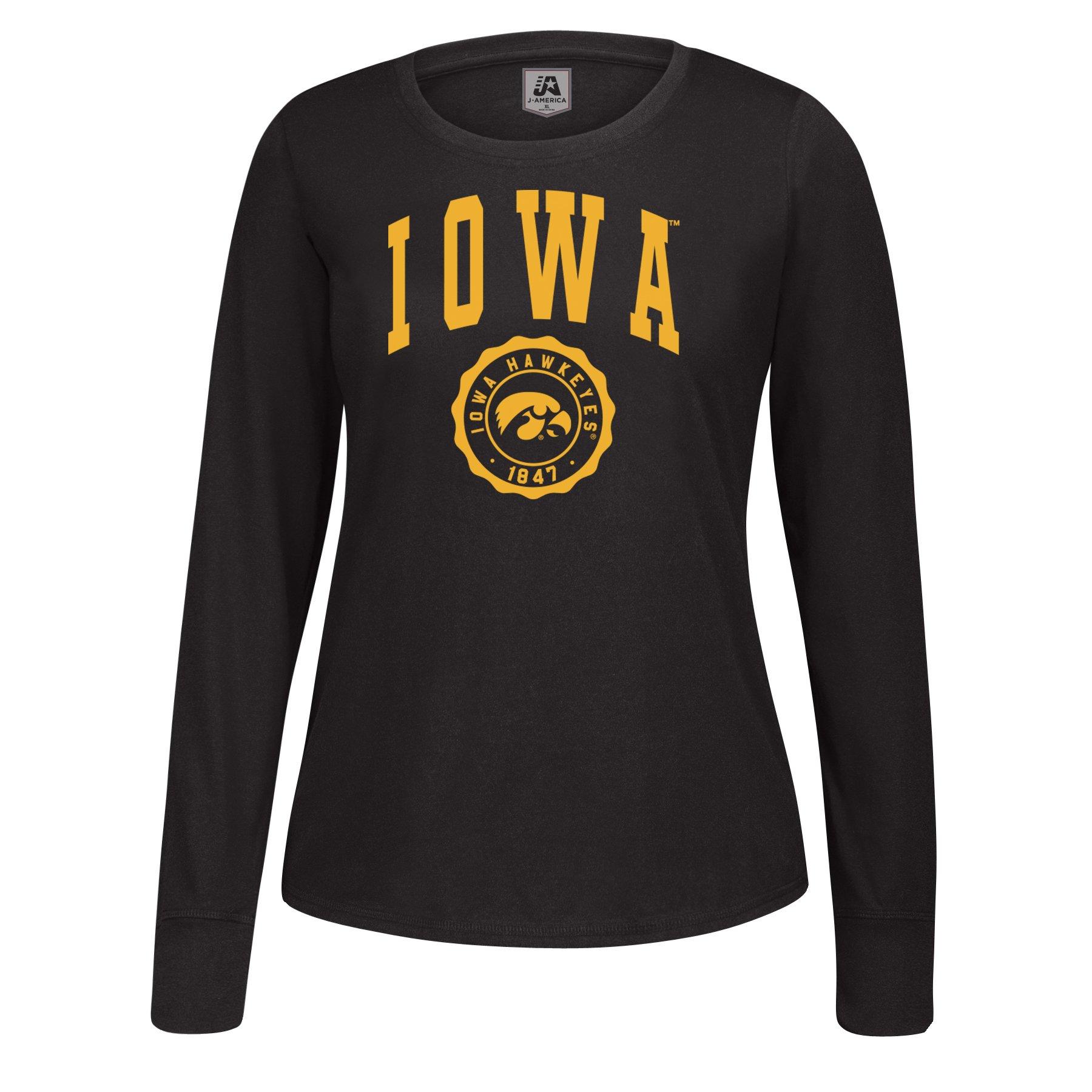 J America NCAA Iowa Hawkeyes Women's Athletic Seal Long Sleeve Essential Tee, Small, Black
