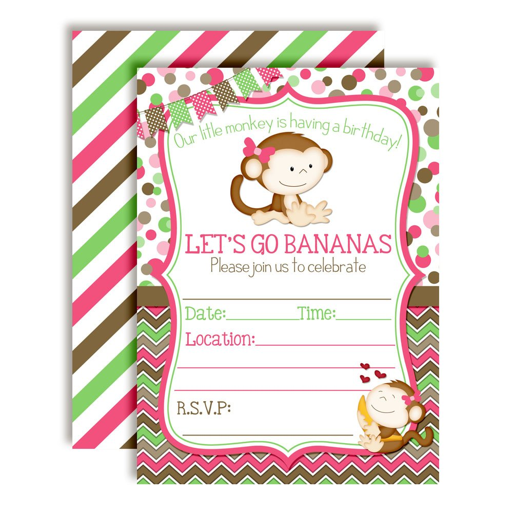 Little Monkey Birthday Party Invitations for Girls 20 5x7 Fill in Cards with Twenty White Envelopes by AmandaCreation