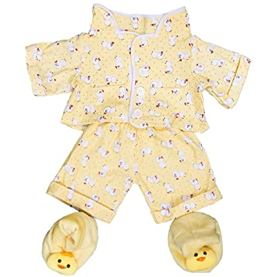 "Teddy Mountain Yellow Chicken Pajamas with Slippers Set Teddy Bear Clothes Outfit Fits Most 14""-18"" Build-A-Bear: Toys & Games"