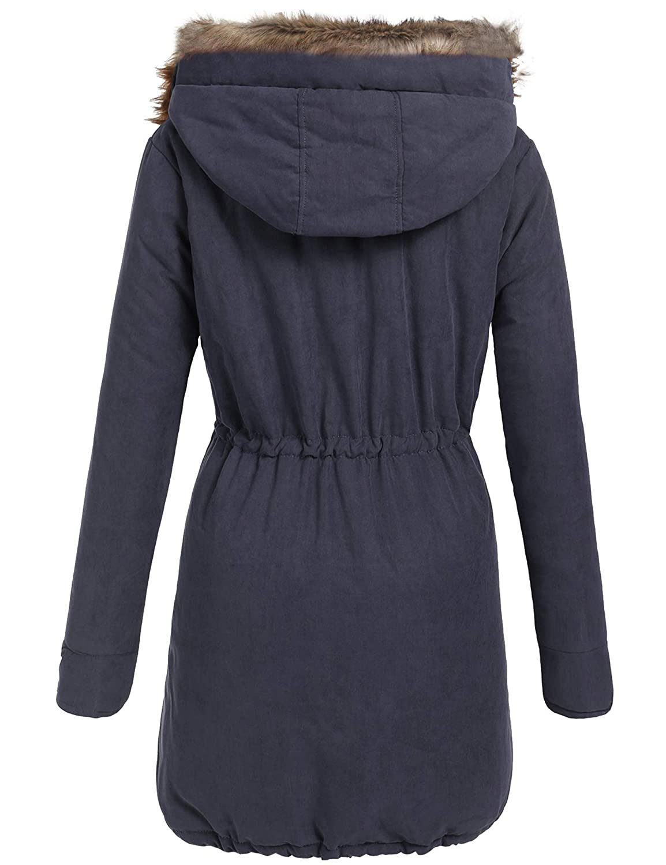 7d02ef46b8c Amazon.com: Beyove Women Winter Warm Hoodie Faux Fur Lined Down Parka  Outdoor Long Jacket Coats: Clothing