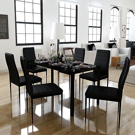Festnight Set Tavolo da Pranzo/Tavolo cucina con sedie 7 Pezzi Nero