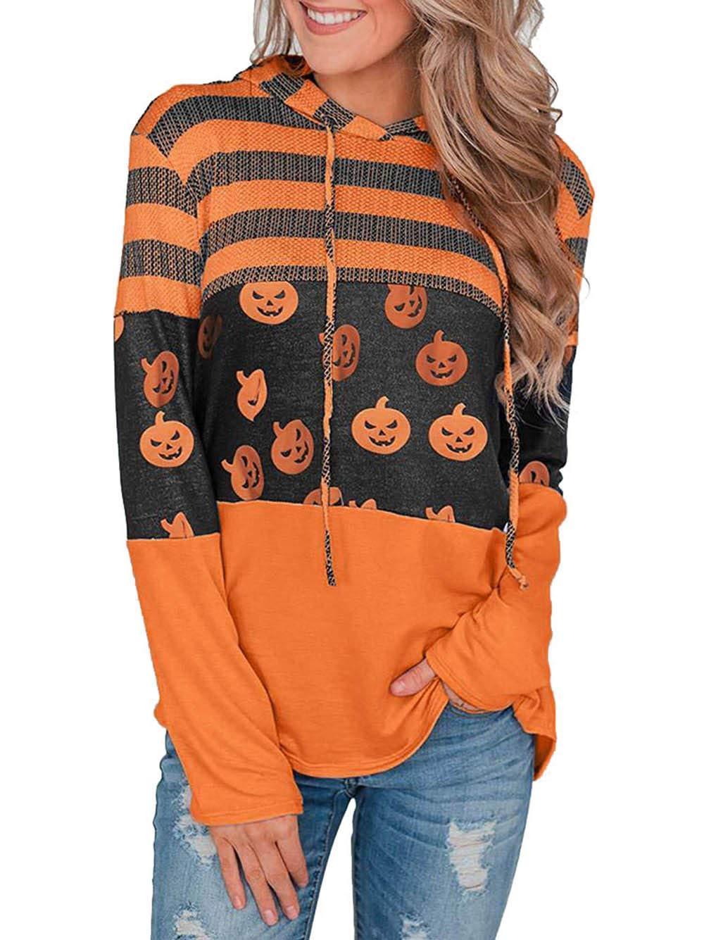 Women Slouchy Shirts Halloween Pumpkin Long Sleeve Sweatshirts Pullover for Women(38-Halloween L) by Barlver