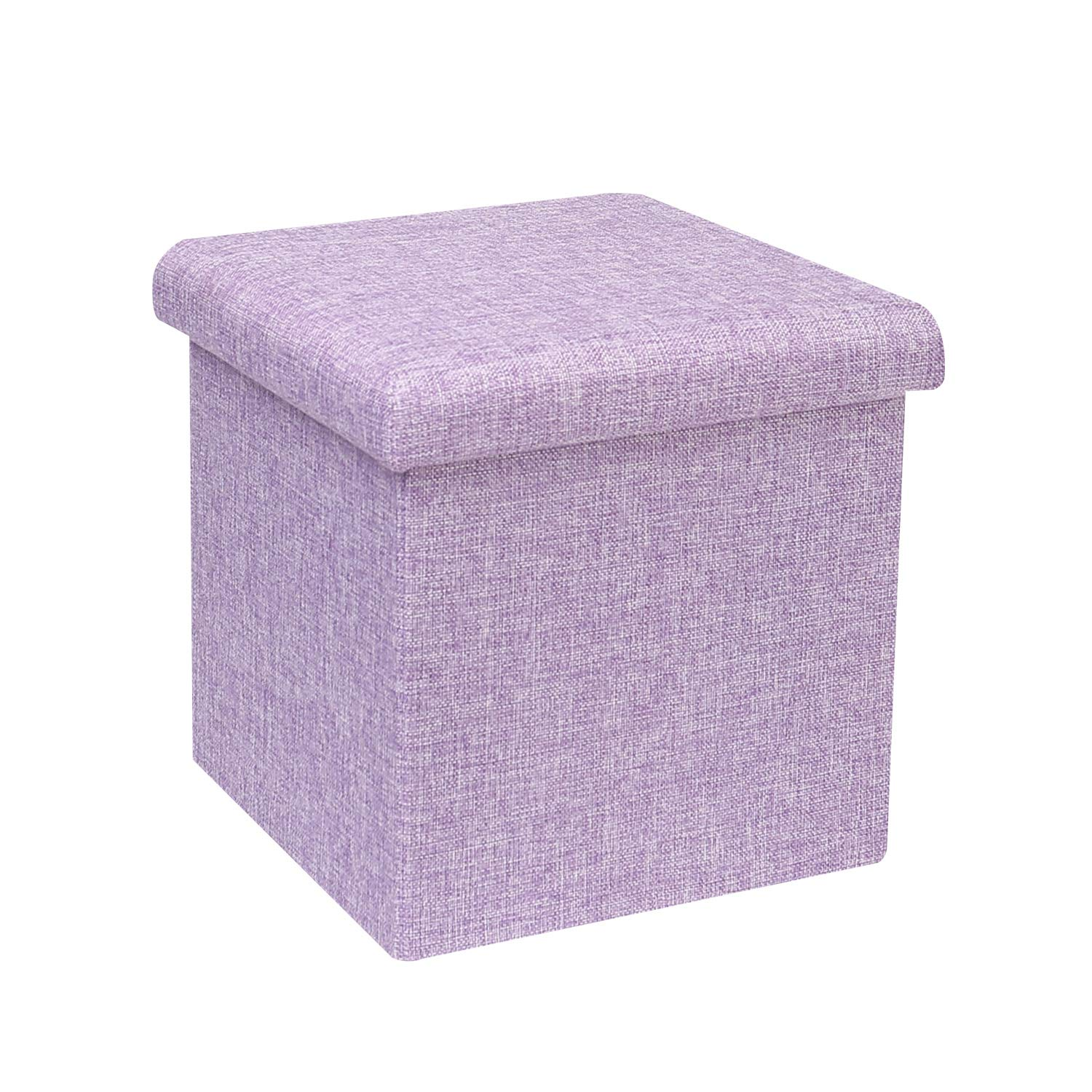 "B FSOBEIIALEO Storage Ottoman Cube, Linen Small Coffee Table, Foot Rest Stool Seat, Folding Toys Chest Collapsible for Kids Light Purple 11.8""x11.8""x11.8"""
