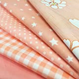 flic-flac 20 x 20 inches (51cmx51cm) Fat Quarter Natural Cotton Quilting Fabric Thick Craft Printed Fabric High Density Bundle Squares Patchwork Lint DIY Sewing (5pcs, Pattern A)
