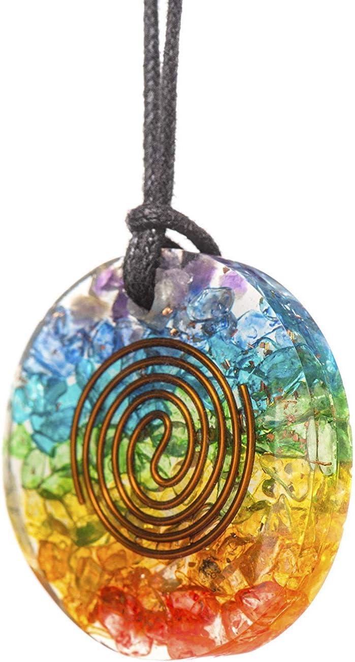 Emf Protection Meditation mega mega Handmade Rainbow Healing Crystals 7 Chakra Stones Orgonite Quartz Crystal Pendant Necklace for Women