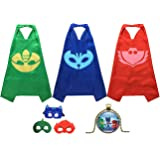 Masks Costumes Set of 3 Catboy Owlette Gekko Mask with Cape and Necklace
