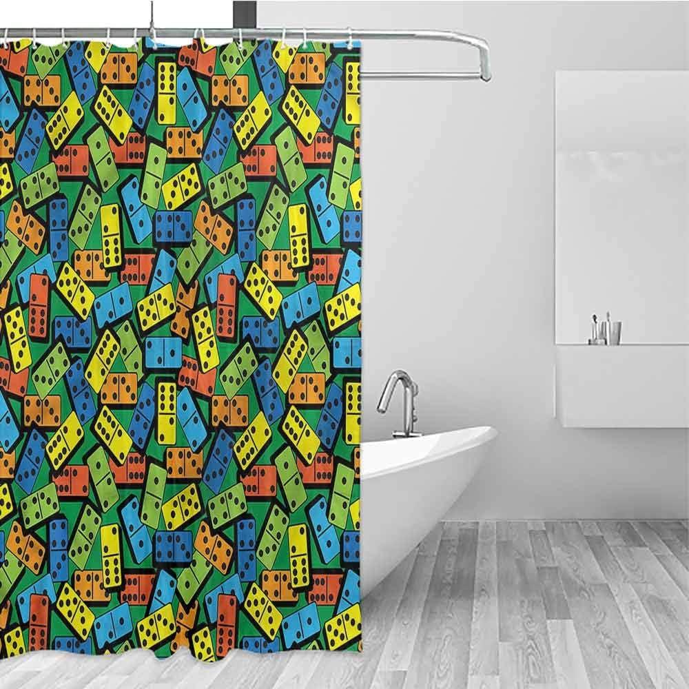 "Shower Curtain   with 12 Curtain Hooks   Waterproof Polyester Fabric   Machine Washable   Modern Design, 72 inch Long, 36"" x 72"", Casino, Colorful Retro Domino Bricks"