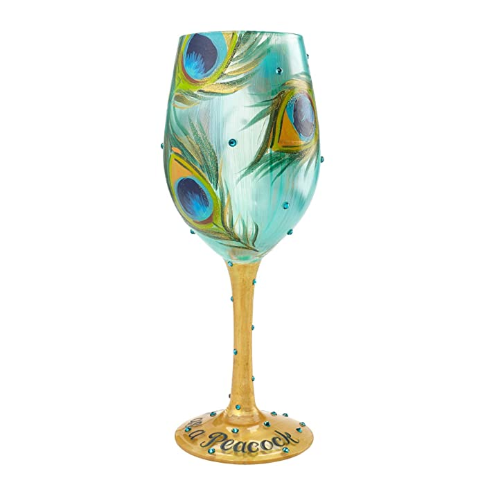 "Designs by Lolita ""Pretty as a Peacock"" Hand-painted Artisan Wine Glass, 15 oz."