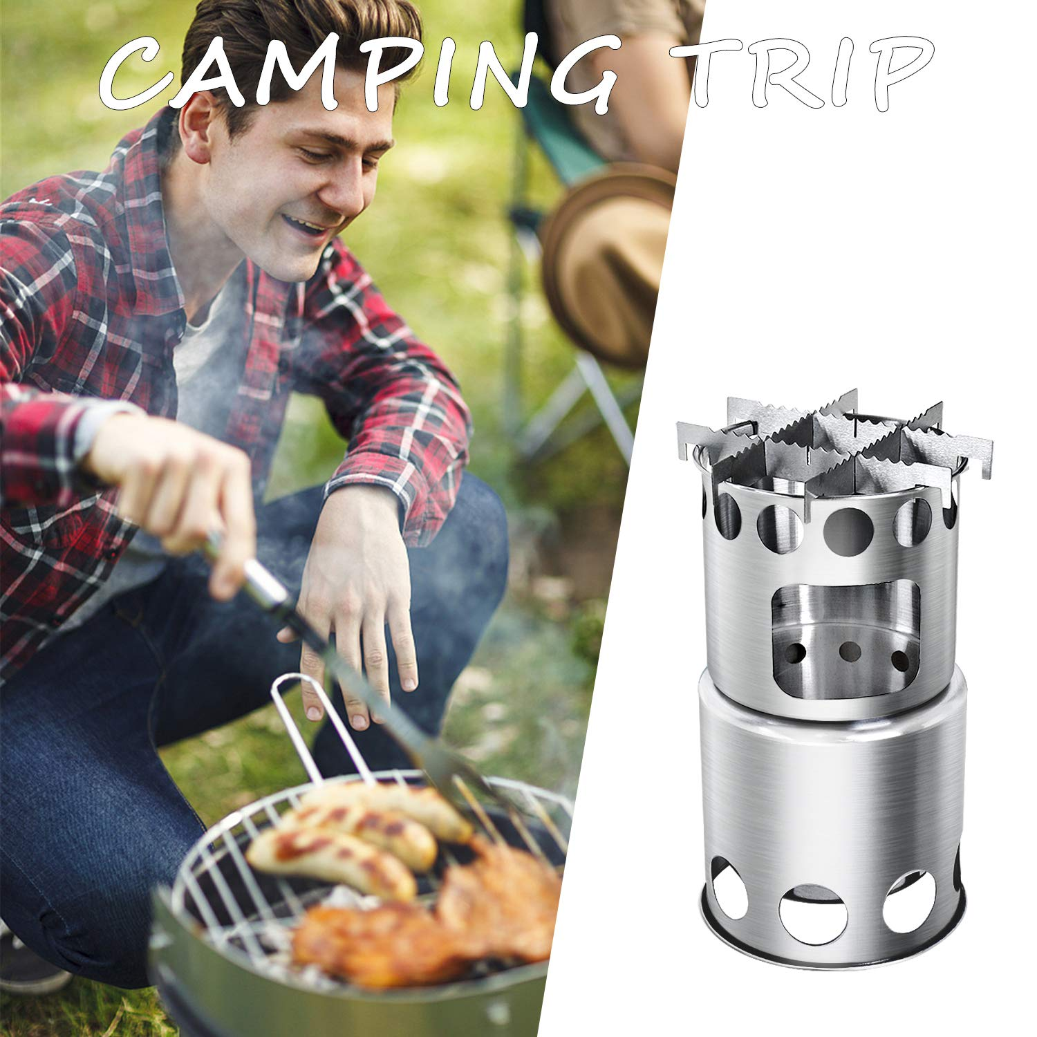 Chihee Backpacking Stoves Camping Stove Wood Burning Portable Stove Outdoor Stove Stainless Steel Cookware Nylon Carry Bag Hiking Picnic BBQ Not Suppilied