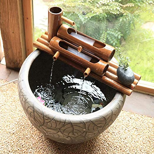8inch LYCIL Yard Garden Flowing Water Decoration,Fish Tank Ornaments Bamboo Water Feature Water Fountain Zen Water Landscape Decoration A 20cm