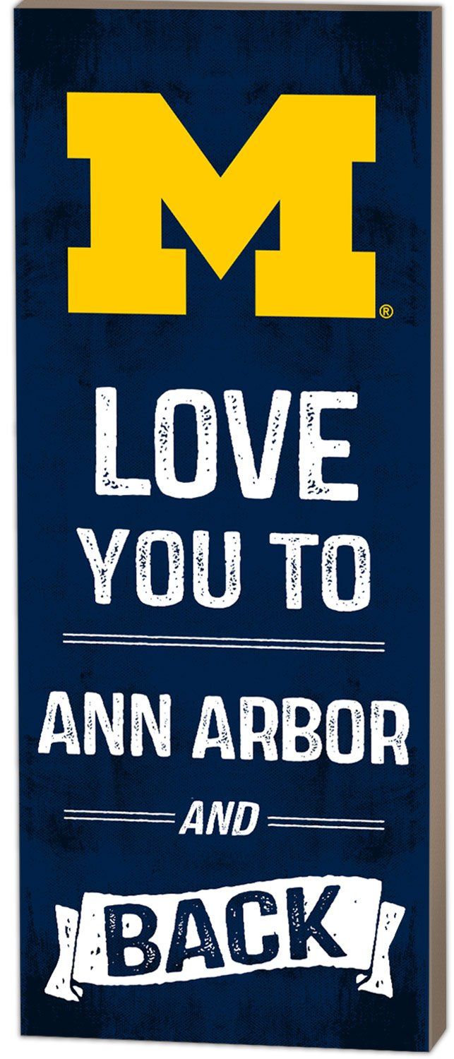 KH Sports Fan 7''x18'' Michigan Wolverines Love You to Collage Logo Plaque by KH Sports Fan