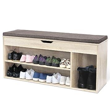 4aa14e4d1c31fa HOMFA Meuble à Chaussures Banc de Rangement à Chaussures 2 Étages en Bois  avec Coussin Armoire
