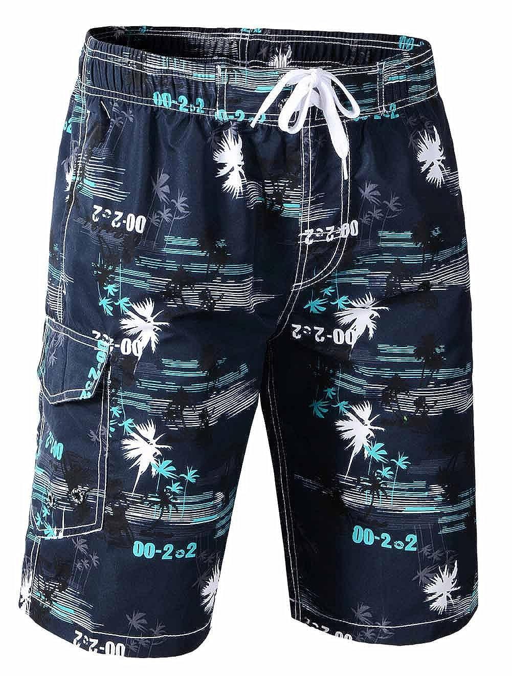 Tuopuda Men's Swim Shorts Palm Printed Quick Dry Board Shorts Beach Swimwear