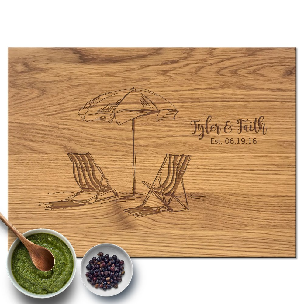 Froolu Beach Chairs personalized cutting board for Monogramed Christmas Gifts