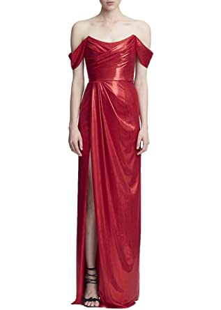 5f3ee5ca Marchesa Notte Women's Off The Shoulder Lame Gown at Amazon Women's  Clothing store: