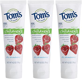 3-Pack Tom's of Maine Fluoride Silly Strawberry Children's Toothpaste