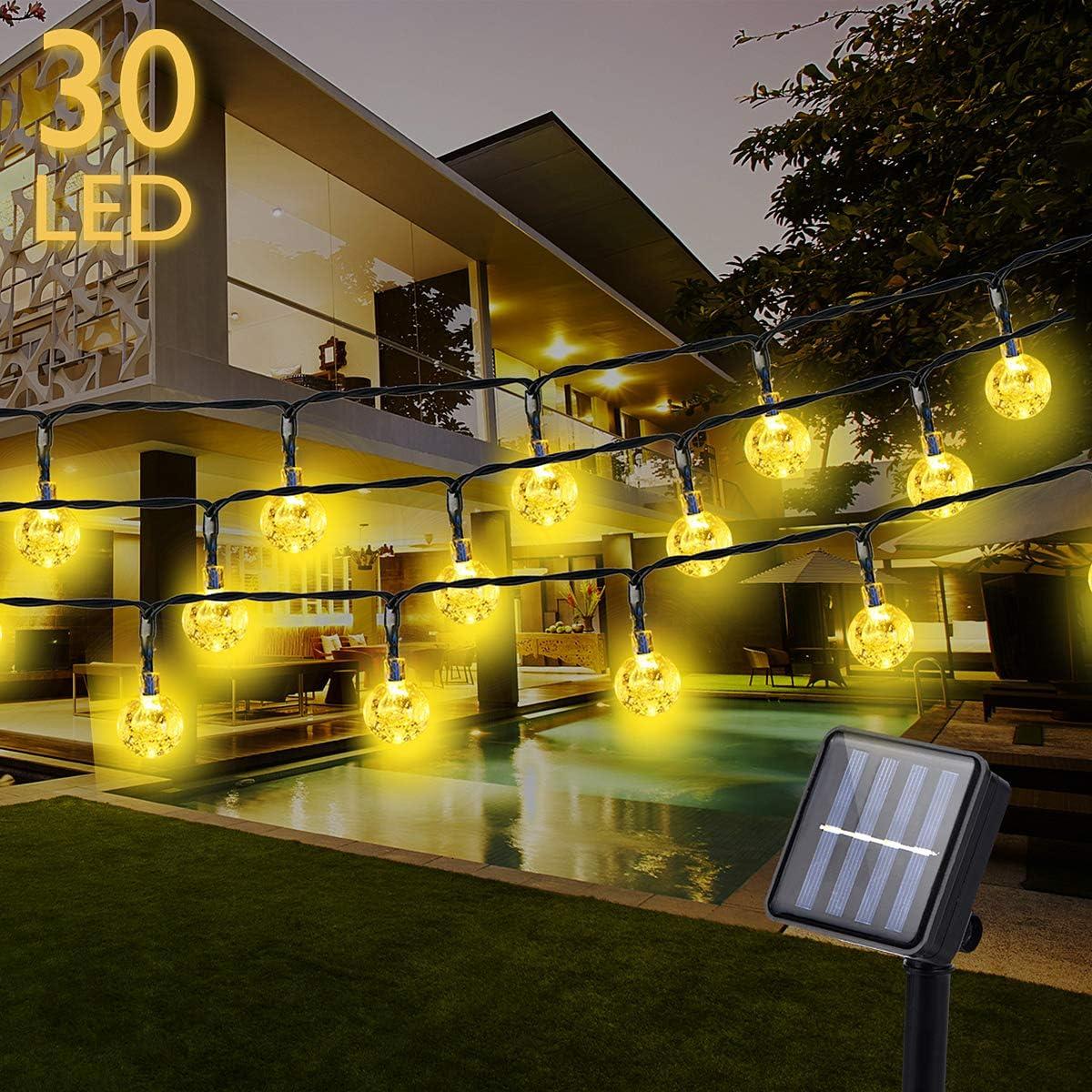 30LED Lichterkette Außen Kristallbälle Solarlichterkette Garten Beleuchtung HD