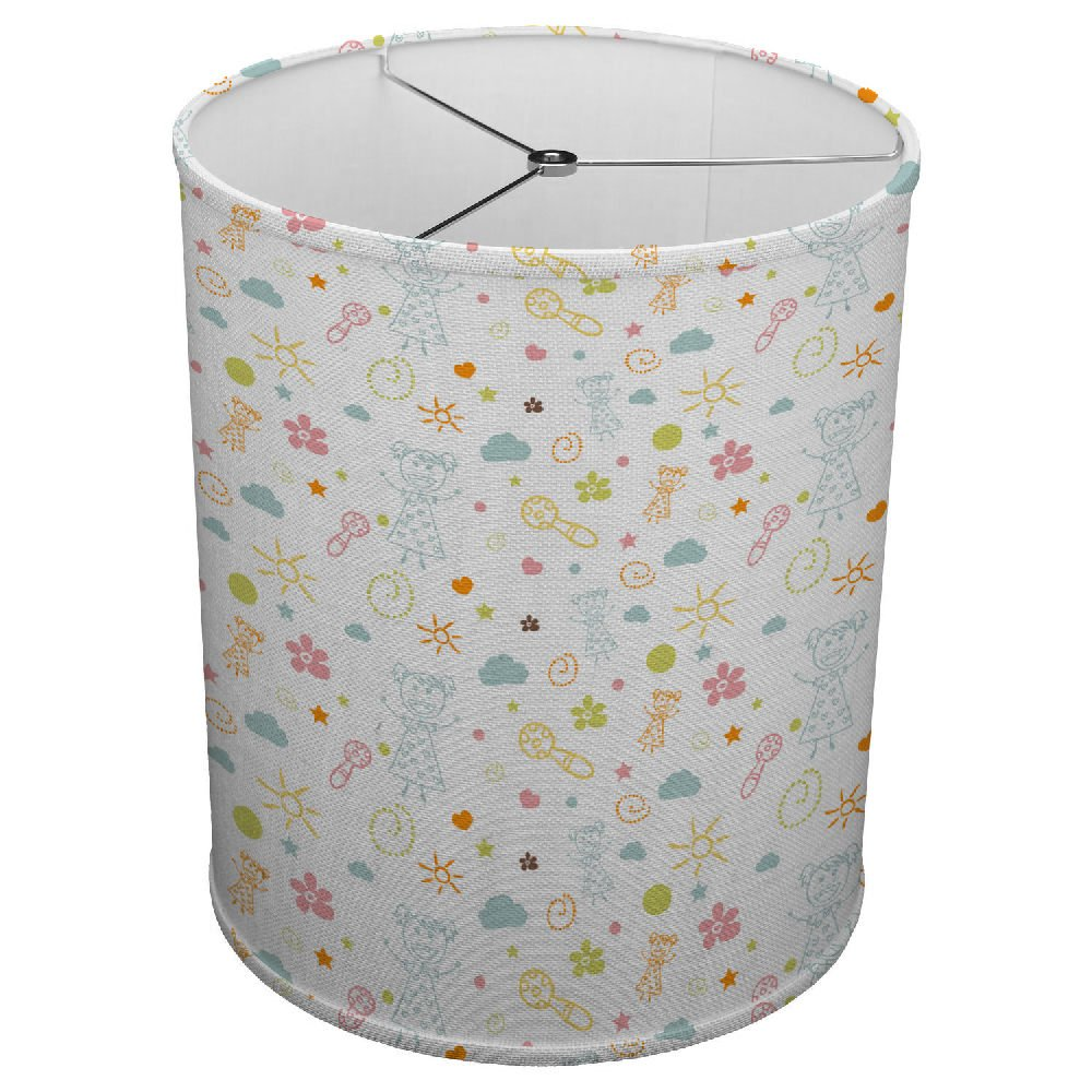 Hardback Linen Drum Cylinder Lamp Shade 8'' x 8'' x 8'' Spider Construction [ With Child Drawings ]