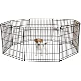 """Pet Premium Dog Puppy Playpen Pen   Indoor Outdoor Exercise Play Yard Outside   Pet Small Animal Puppies Portable Foldable Fence Enclosures   24"""" Height, 8 Panel Metal Wire, Black"""