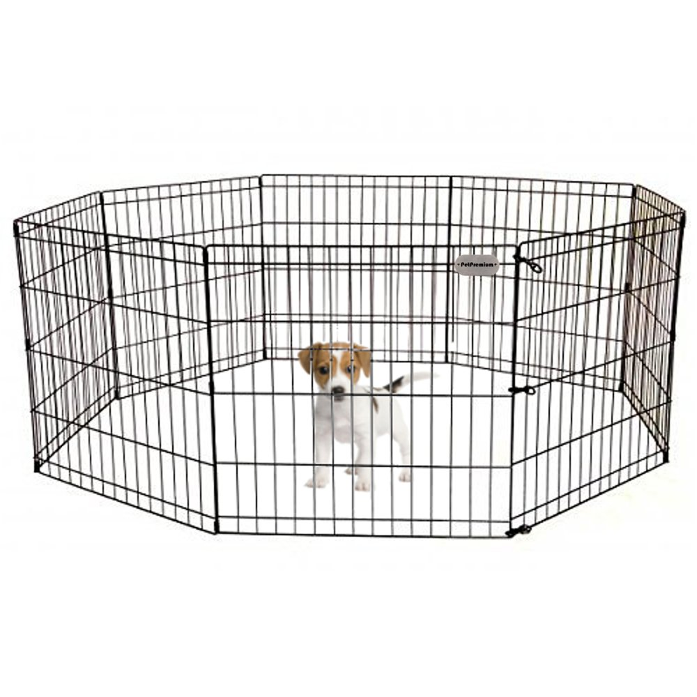 Pet Premium Dog Puppy Playpen Pen | Indoor Outdoor Exercise Play Yard Outside | Pet Small Animal Puppies Portable Foldable Fence Enclosures | 24'' Height, 8 Panel Metal Wire, Black