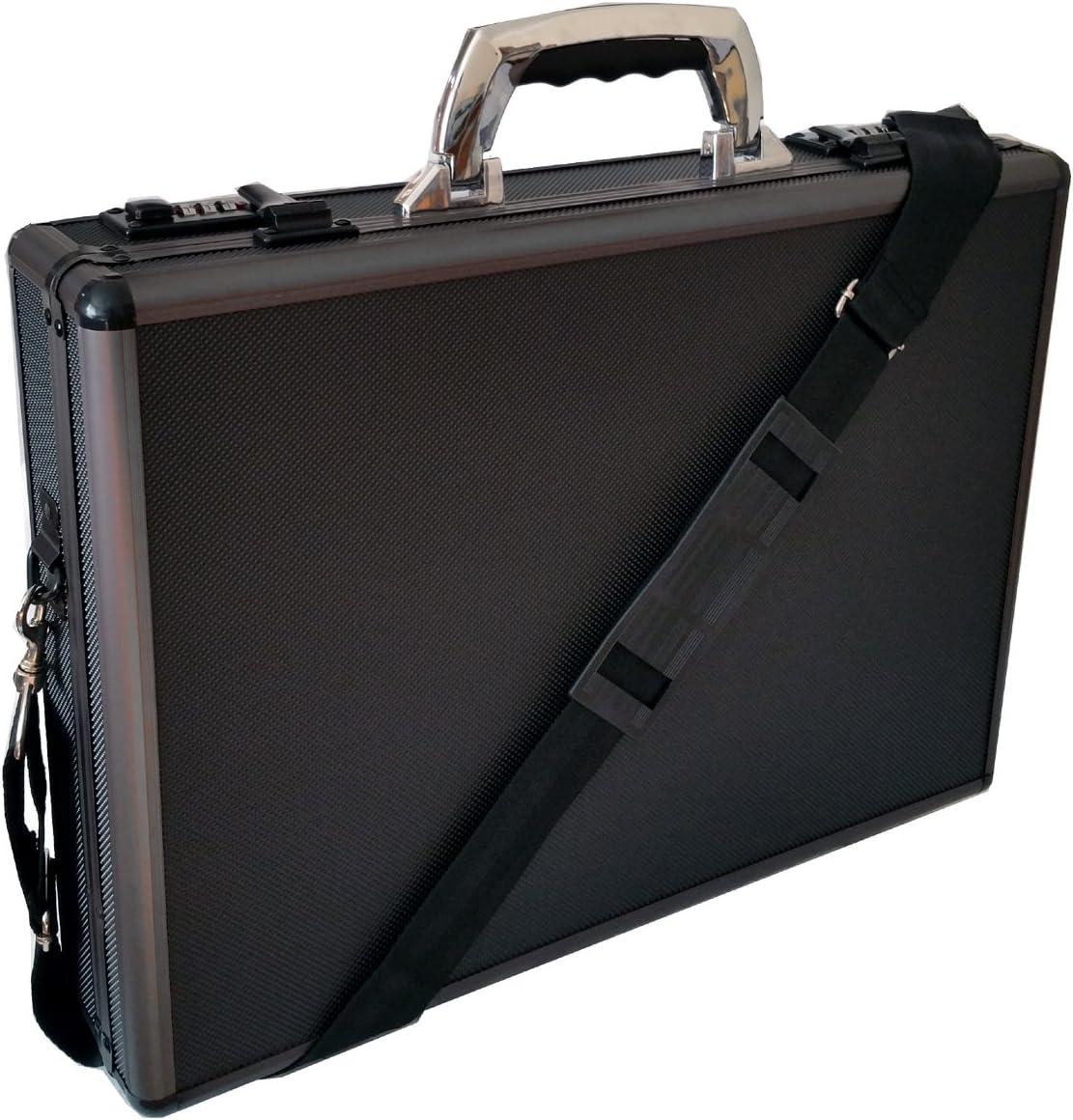 Maletín para ordenador portátil de aluminio, acolchado, color negro, acabado metálico
