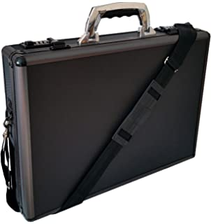 Pro Aluminium Executive Laptop Padded Briefcase Attache Case Black / Gun  Metal