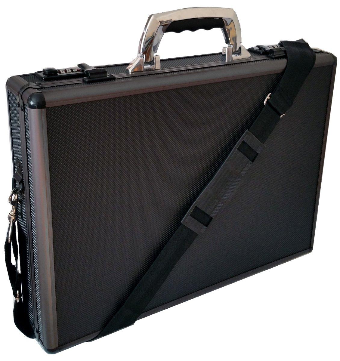 attaché case pour ordinateur portable rembourré Mallette Pro en aluminium Noir/bronze