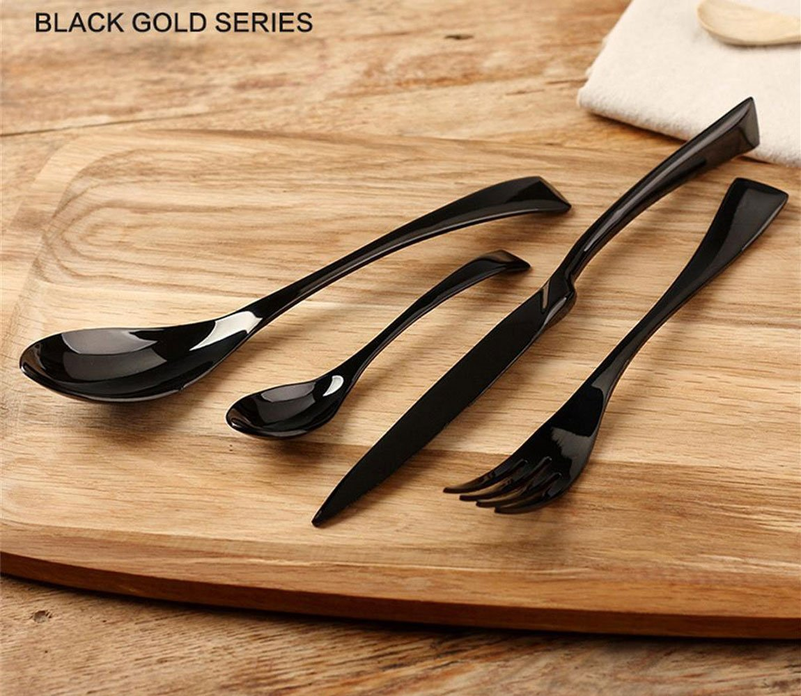 FUT Stainless Steel Cutlery Set,Flatware Set Person, Kitchen Silverware Including Spoon, Teaspoon, Knife, Fork Tableware Dinnerware Anti-rust Utensil Set, Steak Knife Set for 1, (Black)